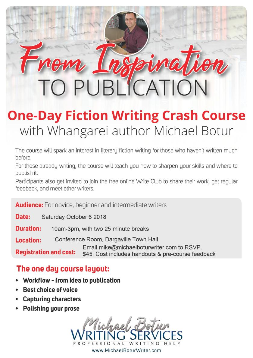 Dargaville workshop poster Creative writing workshop Michael Botur From Inspiration to Publication-page-001